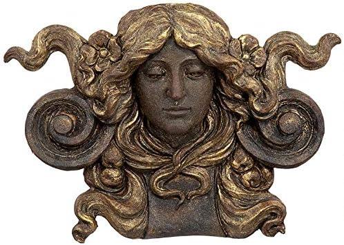 Design Toscano Art Nouveau Female Mascaron Architectural Wall Pocket Sculpture
