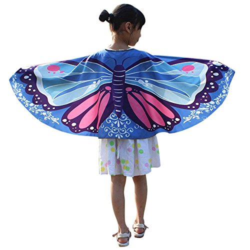iLXHD Christmas Party Prop Kid Baby Girl Soft Fabric Butterfly Wings Shawl Scarves Nymph Pixie Poncho Costume Accessory