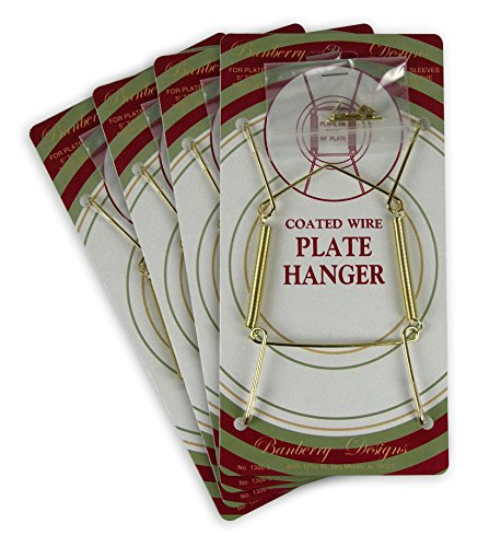 (Banberry Designs Brass Vinyl Coated Plate Hanger 5 to 7 Inch Plates - Set of 4 - Includes Hook and Nail for Hanging )