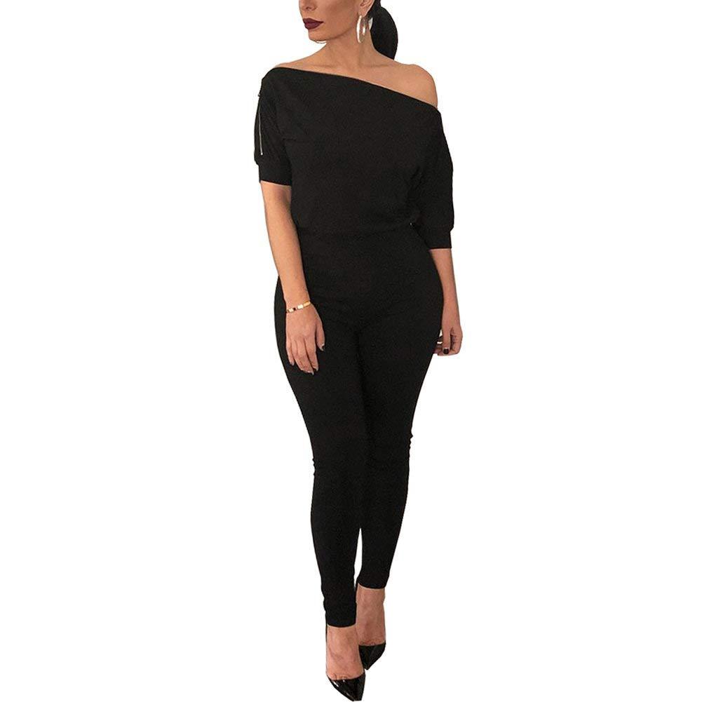 Desirepath Women's Slash Neck Jumpsuits Solid Comfy Loose Short Sleeve Romper Long Straight Pants Black