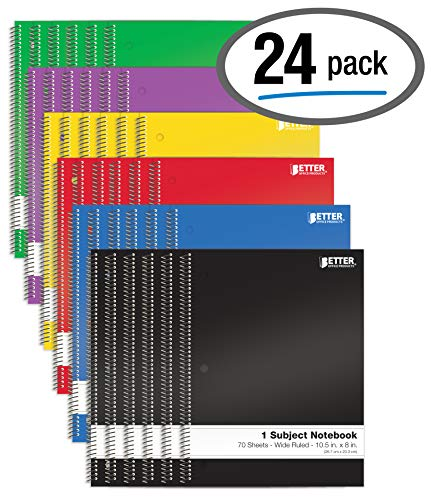 Spiral Notebooks 1-Subject, 24 Pack, Wide Rule, 70 Sheet, 8 x 10.5 inches, by Better Office Products, 6 Assorted Primary Colors, 24 Pack