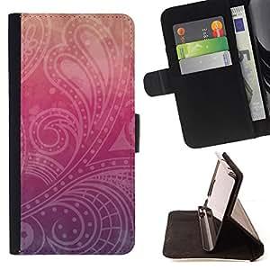BullDog Case - FOR/Apple Iphone 6 / - / floral Indian pattern peach purple /- Monedero de cuero de la PU Llevar cubierta de la caja con el ID Credit Card Slots Flip funda de cuer