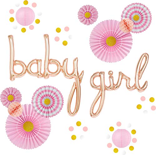 Girl Baby Shower Decorations Set - Pink and Gold Party Supplies for It's a Girl Baby Sprinkles and Showers - Rose Gold Script Letters Balloons, Flower Paper Fans, Garland, Lanterns by Beedecor