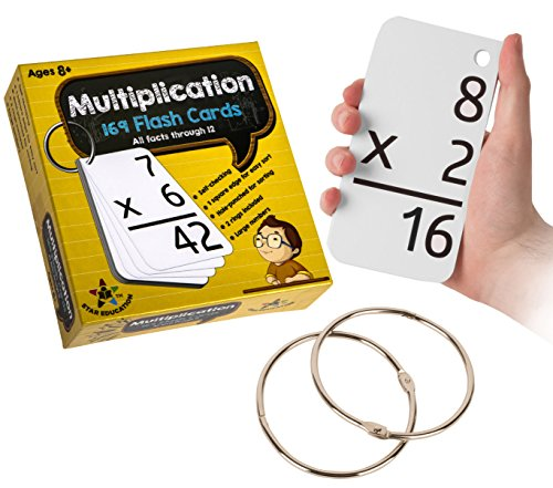 Star Education Multiplication Flash Cards, 0-12 (All Facts-169 Cards) With 2 Rings by Star Right