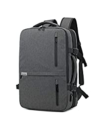 KEYNEW 35L Expandable Carry On Bag Weekender Overnight Backpack Suitcase with Luggage Compartment USB Charging Port, Flight Approved (Grey)