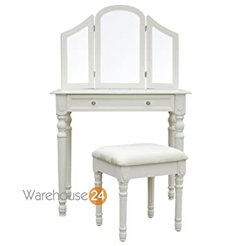 Mayfair Dressing Table with 3 Mirrors and Stool  Off whiteMayfair Dressing Table with 3 Mirrors and Stool  Off white  Amazon  . Off White Vanity Table. Home Design Ideas