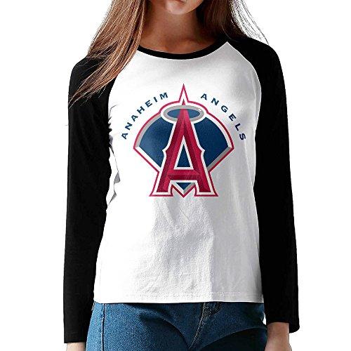 (DVPHQ Women's Vintage Angels Baseball Anaheim Long Sleeve Shoulder T Shirt Black Size)