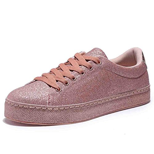 BTDREAM Womens Glitter Fashion Sneaker Quilted Lace Up Metallic Sequins Stylish Shoes
