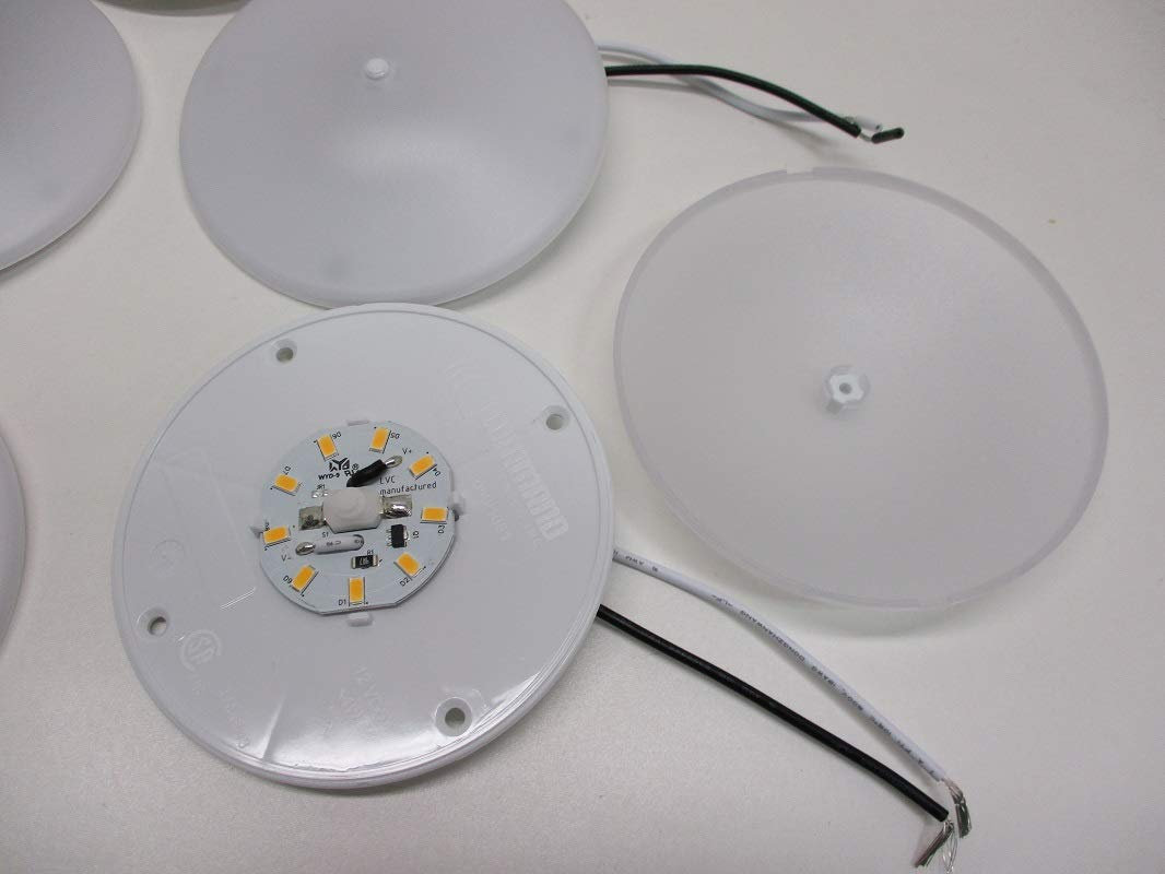 White LED 4.5 inch Round Camper RV Trailer Utility Dome Lights//Switch Command Electronics 5