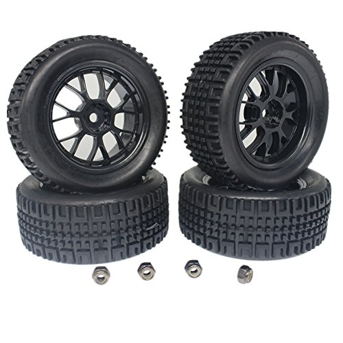Hobbypark 4-Pack 76mm RC Racing Rally Tires & Wheels Set Foam Inserts 12mm Hex Width:30mm for 1/10 Scale Vehicle Parts