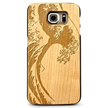 Laser Engraved Wood Case for Galaxy S6 Edge - Ocean Surf Wave (Maple)