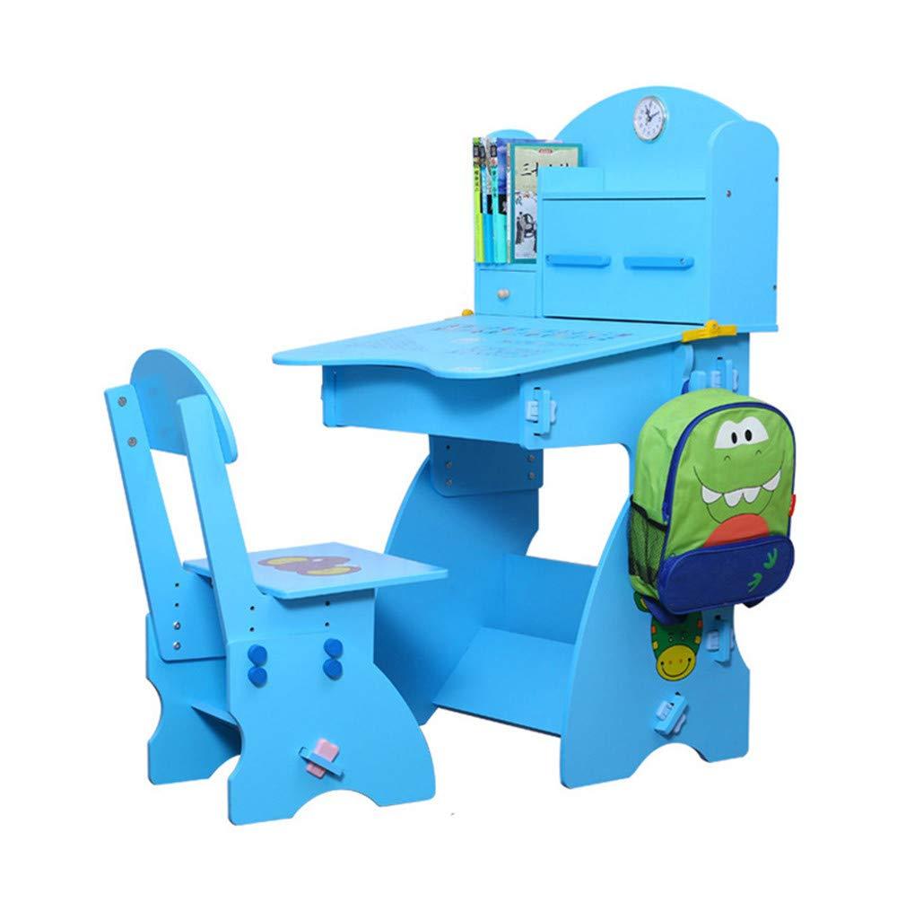 子供の木製の机と椅子セット高さ調節可能と傾斜デスクトップ子供学生学校研究デスクテーブルワークステーション B07Q322KF7 blue