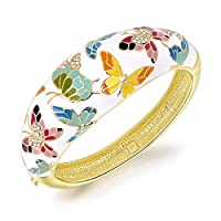 """Qianse """"Spring of Versailles"""" Handcrafted Cloisonne Butterfly Bangle Bracelet with Austrian Crystals"""