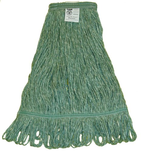 Zephyr 26334 Blendup Green Blended Natural and Synthetic Fibers X-Large Loop Mop Head with 1-1/4'' Narrow Headbands (Pack of 12) by Zephyr