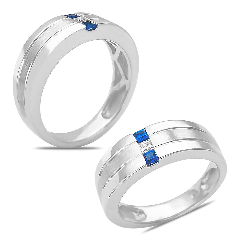 Amazon Men s 1 12CT Diamond & Sapphire Wedding Band 10k White