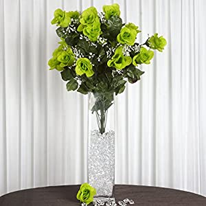 BalsaCircle 96 Lime Green Silk Peach Blossoms Stems - 4 Bushes - Artificial Flowers Wedding Party Centerpieces Arrangements Bouquets Supplies 4