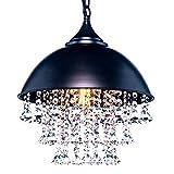 "Retro Industrial Wrought Iron Pendant Light Adjustable Crystal Hanging Pendant Lamp Chandelier 13.2""- Black"