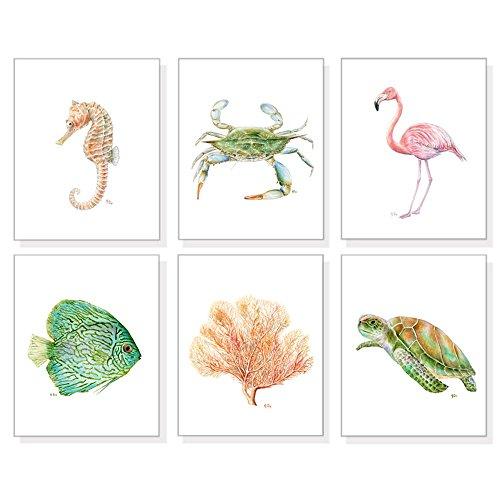 Beach Art Beach Prints Set of 6, Beach Home Decor, Beach Wall Art, Coastal Sea Ocean Tropical Watercolors, Fish Crab Coral Sea Turtle Seahorse Flamingo
