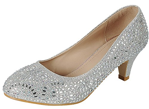 Dress Heel Pump Shoe (Cambridge Select Women's Closed Round Toe Glitter Crystal Rhinestone Kitten Heel Dress Pump (9 B(M) US, Silver))