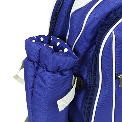 Charles Bentley 4 Persona Blu picnic Zaino Set Compreso Bottle Holder, Coperta, Cheeseboard, posate, piatti, bicchieri, cavatappi, sale e pepe pentole