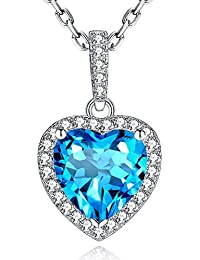 Shape of Love Heart Necklace Swiss Blue Natural Topaz...