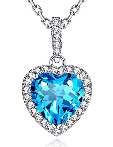 Blue Topaz Necklace December Birthstone Heart Necklace Sterling Silver Pendant Necklace Valentine's Day Gifts for Women Jewelry Gifts For Girlfriend Wife Girls 24th Anniversary Gifts for Her -