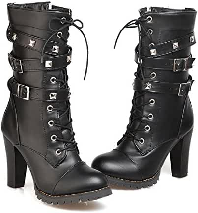 Mostrin Women Motorcycle High Heels Punk Buckle Rivet Strap Combat Military Mid Calf Boots