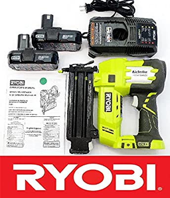 "Ryobi 18 Volt Air Strike 5/8-2"" Brad Nailer P320 + (2) Batteries P102 + Charger P118 (Certified Refurbished)"