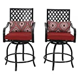 PHI VILLA Outdoor Extra Wide Height Swivel Bar Stools Arms Chairs 2 Pack For Sale