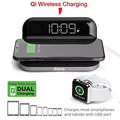 iHome iW18 Compact Digital Alarm Clock with USB and Qi Wireless Charging for iPhone 11, XR, XS, X, 8, Galaxy S10 S9 S8, Note 10 Note 9 and More