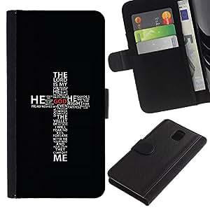 NEECELL GIFT forCITY // Billetera de cuero Caso Cubierta de protección Carcasa / Leather Wallet Case for Samsung Galaxy Note 3 III // CRUZ DEL SEÑOR ES MI SHEPPARD