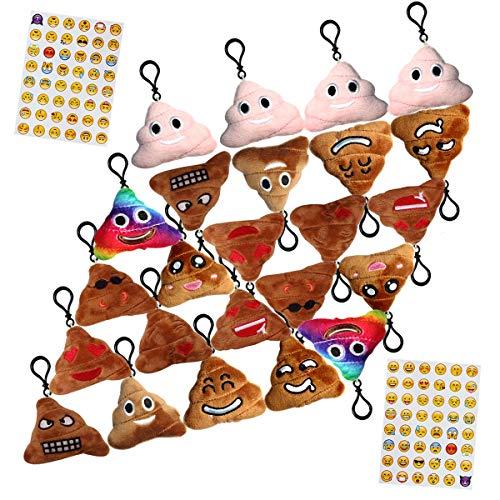 Poop Emoji Funny Prizes Toy Plush Keychain Kids Bday Supplies Favor Party Decoration, 24 Pack Emoji-pop Emoticon Mini Pillow Backpack Clips, Car Key Chains Pendant Goody Bag Stuffed, Bonus Sticker