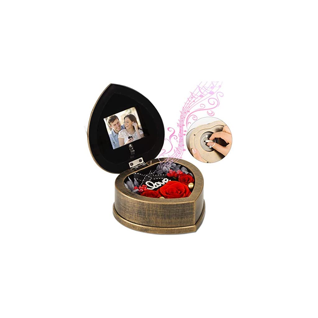 EINID Handmade Preserved Rose 3 Immortal Red Rose Flowers Preserved in a Heart Shaped Musical Box,Best Gift for Her on Mother's Day,Valentine's Day,Anniversary Or Birthday(Music Red Rose)