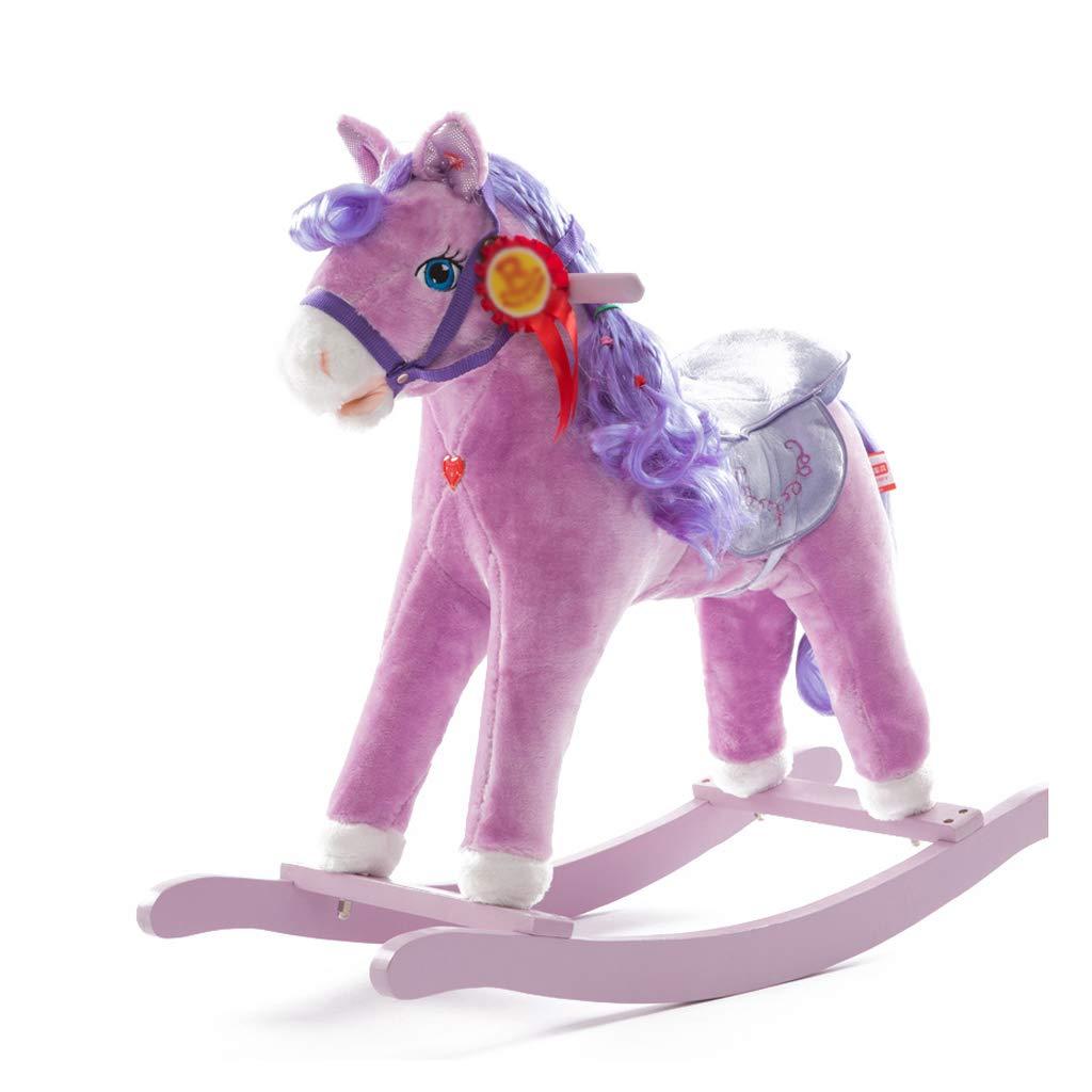 Cavalli a dondolo FJH Scuotere Il Bambino di Legno per Bambini Legno massello Giocattolo Musicale Sedia a Dondolo Principessa Regalo di Compleanno (colore   viola)