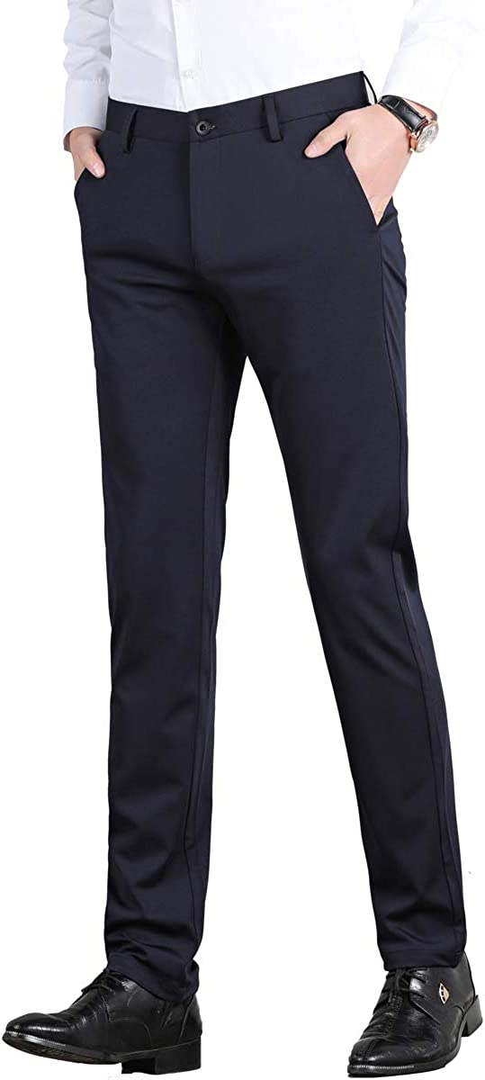 Yingqible Mens Formal Smart Dress Suit Trousers Stretch Casual Business Slim Fit Pants Pocket