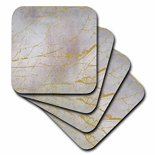 3dRose Andrea Haase Glamour and Glitter - Image of Glamorous Elegant Soft Pastel Texture With Golden Marble Lines - set of 8 Coasters - Soft ()