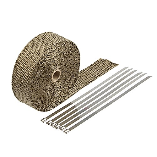 HM&FC Double Thickness Titanium Exhaust Wrap with Size 0.12 Inch (T) 32 Feet (L) 2 Inch (W) with 10 Stainless Zip Ties and Glove ()