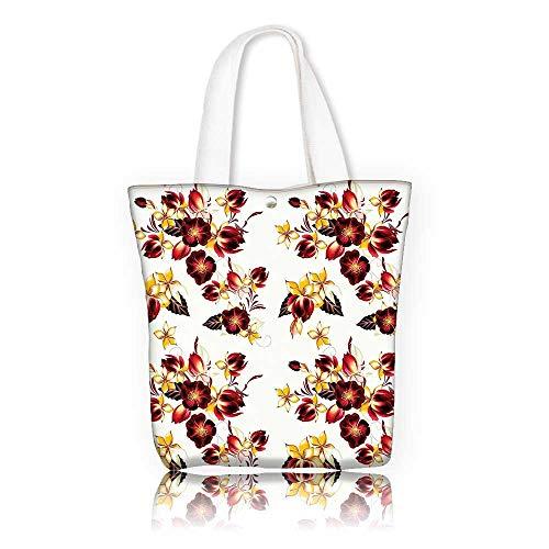 Avon Bag It The (Tote Bag Shoulder Bag —W14 x H15.7 x D4.7 INCH/Tote Laptop Beach Handbags Flowers Floral Decor Seamless Wallpaper Pattern with Flowers Decorative Design Print Yellow Burgundy.)