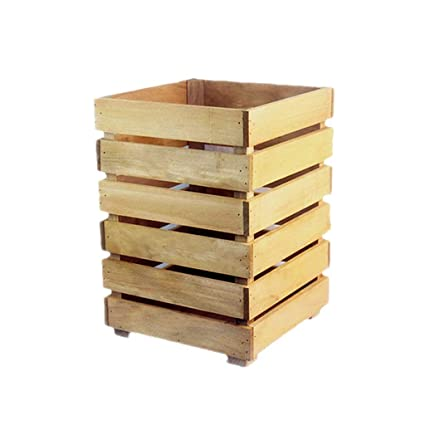 Amazon.com: Creative Coverless Square Solid Wood Dustbins ...