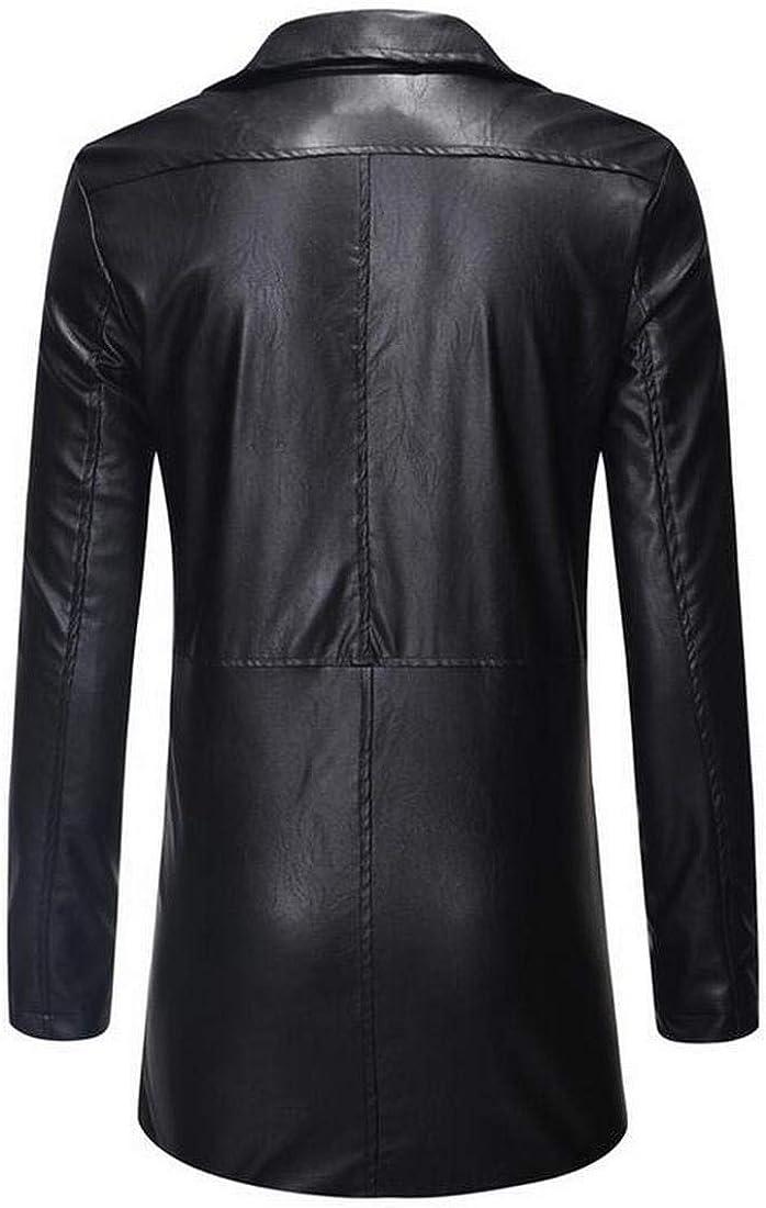 BOBOYU Men Longline Fall Winter Lapel Slim Fit Zip Front Trench Coat Jacket Overcoat