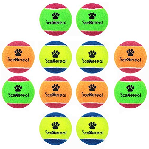 SCENEREAL Squeaky Tennis Balls for Dogs – 12Pcs/Set Toys for Small Dogs Pets Chasing Training