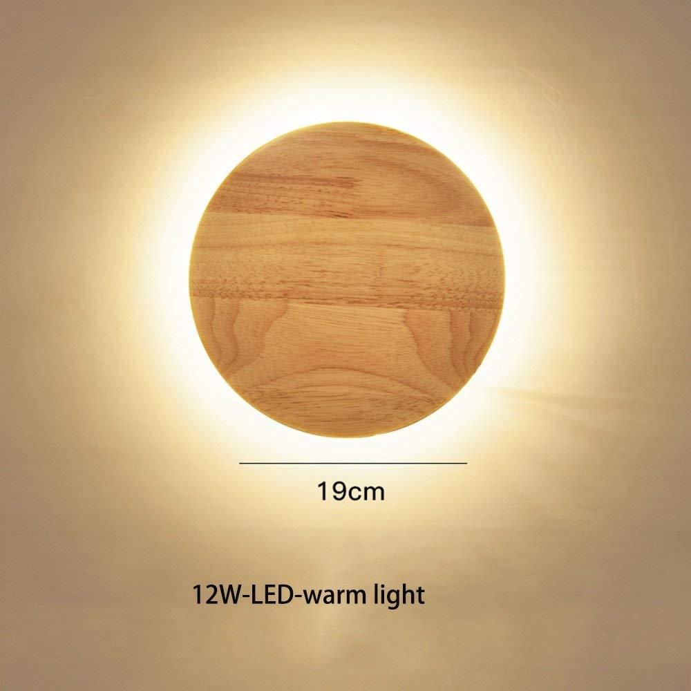 FXING Runde Holz- LED Wandleuchte für Schlafzimmer Bett studyroom Korridor Gang Treppe (19 cm-12 W) (Farbe  warmes Licht)