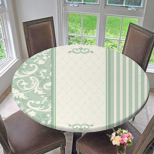 Luxury Round Table Cloth for Home use Invitation Card Green for Buffet Table, Holiday Dinner 50