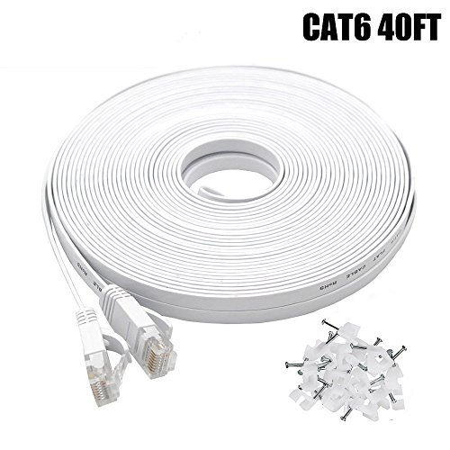 Cat6 Ethernet Cable 40 FT White, BUSOHE Cat-6 Flat RJ45 Computer Internet LAN Network Ethernet Patch Cable Cord - 40 Feet