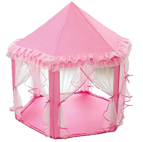 PloveS Princess Castle Play Tent Playhouse With Lace for Kids, Gazebo Tent & Playhouses for Girls, Perfect Gift/Presents, Child's Toddlers (Newest Toys, Pink) (Kids Petal Cars)