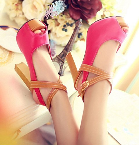 De Style Plate Toe Habillées Aisun Des Chaussures forme Peep Femmes Sandales Talons Rouge Hauts qAxwI