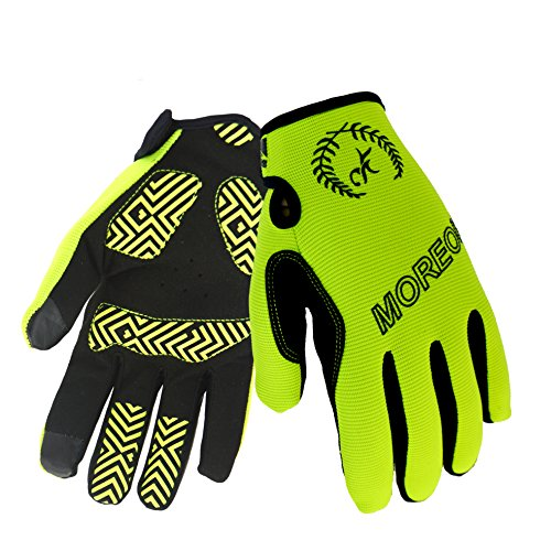 MOREOK Sensitive Touch Screen Gloves Mountain Bike Road Bike Cycling Full Finger Biking Gloves Anti-Slip Shock-Absorbing Hand Warmers Gel Pad Breathable Cycle Gloves (Fluorescent Yellow, M)