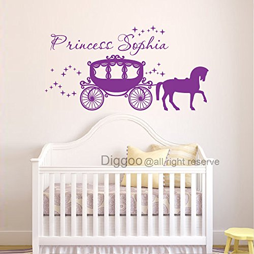 Personalized Princess Name Wall Decal Princess Carriage Vinyl Wall Art Girls Room Wall Decal (15.5