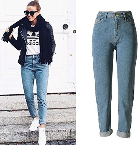 Women's Casual Cotton Loose Boyfriend Straight Leg Jeans 25(Tag) by ECHOINE (Image #1)
