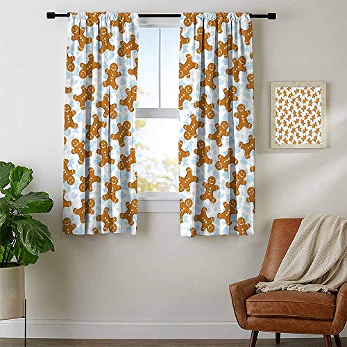 (Mozenou Gingerbread Man, Curtains Insulated Thermal, Traditional Christmas Icons Cookie Pattern Festive Tile, Curtains Kitchen Window, W54 x L39 Inch Light Caramel Baby Blue White)